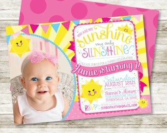 "Girl's Birthday Invitation - You are My Sunshine, My Only Sunshine Birthday Party Printable Invitation in Pink, Yellow & Lt Blue, 5"" x 7"""