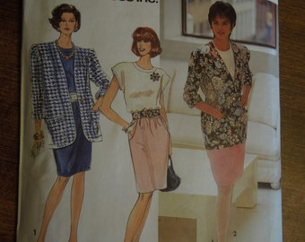 Simplicity 7668, size 6-12, petite, misses, womens, dress, unlined jacket, UNCUT sewing pattern, craft supplies