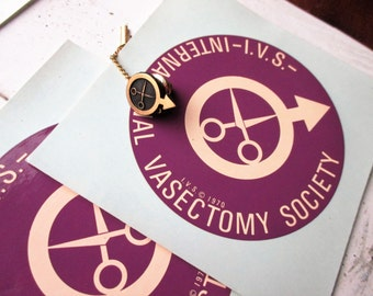 Vintage 1970 International Vasectomy Society Window Decals and Tie Tack