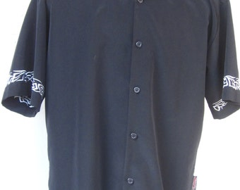 SAPPHIRE LOUNGE Black Camp Shirt-Embroidered Tribal Barbwire Tattoo Casual Button Front Club Shirt Size L