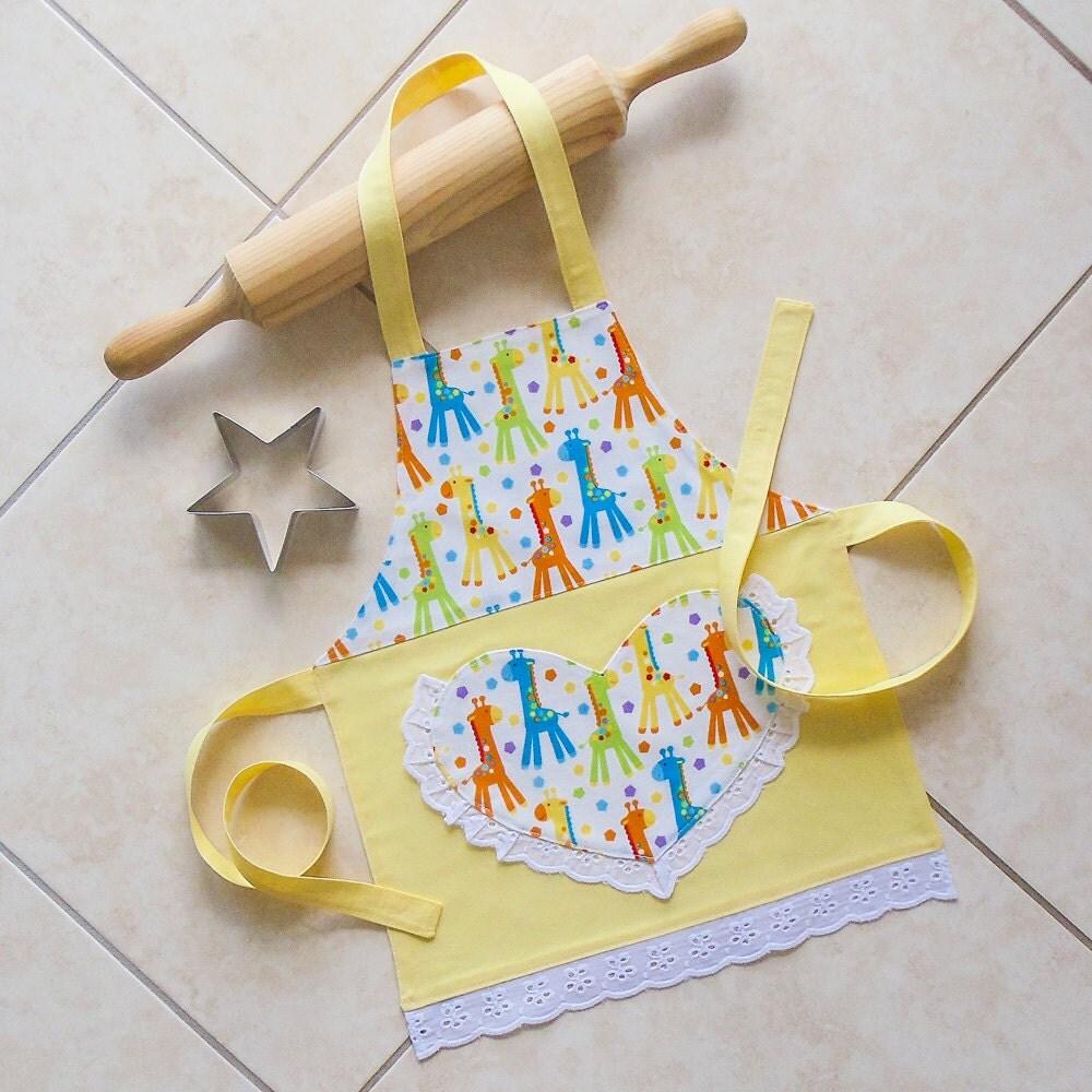 Toddlers & Kids Apron Yellow Girls Kitchen Baking Craft Play