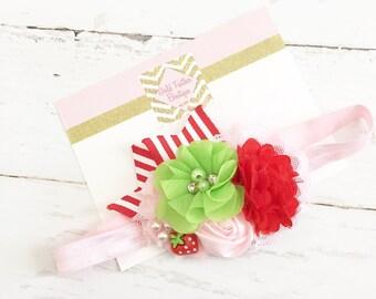 Pink red lime green headband // stripe ribbon strawberry shortcake headband // baby girl summer headband