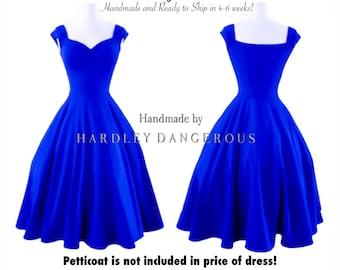 "Knee Length 38"" Royal BLUE Cherrybomb Swing Dress handmade by HARDLEY DANGEROUS 1950s Rockabilly Bridesmaid Wedding Party Dress, Semi Formal"