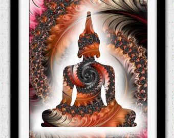 Copper black Buddha print, red Buddha art, brown gray fractal art, brown orange buddha silhouette, copper brown zen decor, zen buddha poster