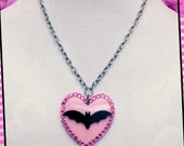 Pink Bat Heart Necklace