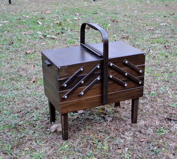 Vintage Wooden Sewing Box Chest Fold Out Singer Dark Tone