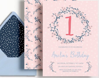 Girls 1st Birthday Invitation Cherry Blossom Flowers First Blue Pink Coral Printable Wreath Blossoms Japanese Sakura 2nd 3rd 4th 5th 6th