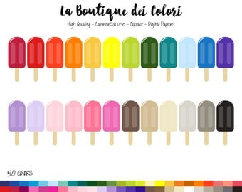 50 Rainbow Popsicle Clipart, Cute Ice pop Digital illustrations PNG, ice cream, ice lolly Clip art, Planner Stickers Commercial Use