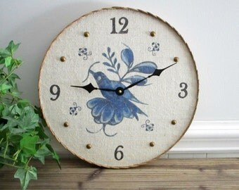 """Wall Clock - Rustic Home Decor - 14"""" Large Wood Clock with Delft Blue Bird, Unique Wall Clock, Textured Wall Decor, Cottage Wall Decor"""