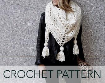 Crochet Pattern // Triangle Scarf Tassels Boho Oversized Chunky Shawl // Louisa Wrap PATTERN