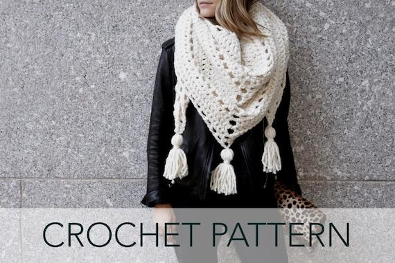 Crochet Scarf Pattern With Tassels : Crochet Pattern // Triangle Scarf Tassels Boho Oversized