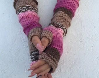 Knit Fingerless gloves Knitted Fingerless Mittens  Long Arm Warmers  Boho Glove  Women Fingerless Wrist Warmers Mismatched  Wrist Warmers