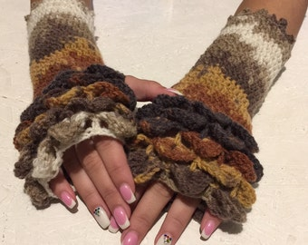crochet gloves Fingerless dragon scale gloves women fingerless gloves crochet women's gloves women's Arm Warmers winter gift Accessory