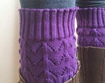 Boot Cuffs purple merino  wool boot cuffs knit boot cuffs leg cuffs womens boots knit lace button Leg Boot Socks