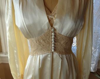Vintage  1940's Peignoir Set Nightgown Robe Hollywood Glamour