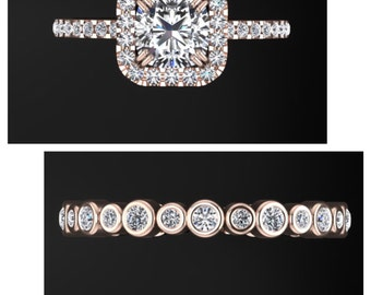 1ct cubic zirconia cushion ring set