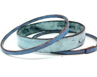 Handcrafted Enamel Bangles Bangle Stack Stacking Bracelets Blue Bangle Set