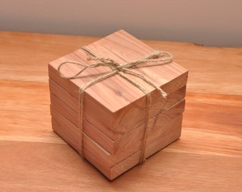 Set of 5 Aromatic Red Cedar Coasters