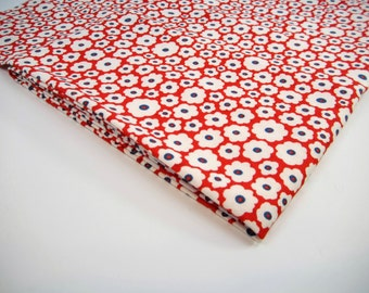 "2 Yards Vintage 34"" Wide Red & White With Blue Fabric"