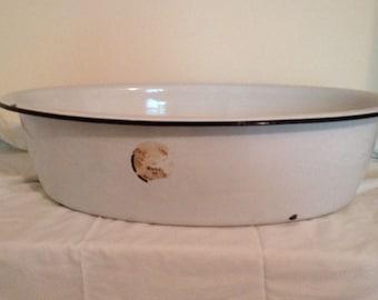 Vintage Large White Porcelain Enamelware Baby Bath Wash Tub