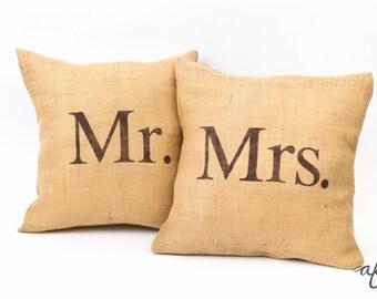 Mr. and Mrs. Pillows, Burlap, Rustic, Wedding, Throw Pillows