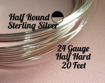 15% Off Sale! Sterling Silver Wire, HALF ROUND 24 Gauge, Half Hard, 20 Feet, WHOLESALE