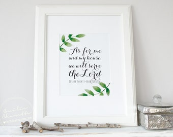As for me - Christian Poster or Canvas word design with bible verse - multiple size