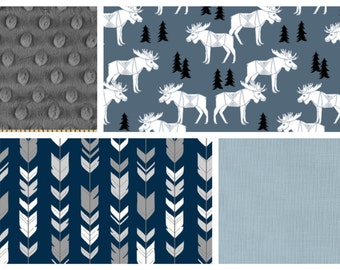 Baby Boy Moose Bedding  - Minky Blanket, Sheet and Crib Skirt in Navy, Grey and Slate Blue