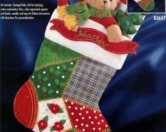 "Bucilla Patchwork Teddy ~ 18"" Felt Christmas Stocking Kit #83657 Bear Candy Cane DIY"