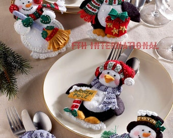 Bucilla Snowman & Penguins ~ Felt Christmas Silverware Holder Kit #86247, 6 Pces DIY