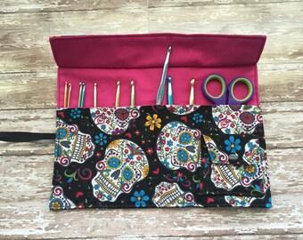 Crochet hook roll  case / organizer - made to order