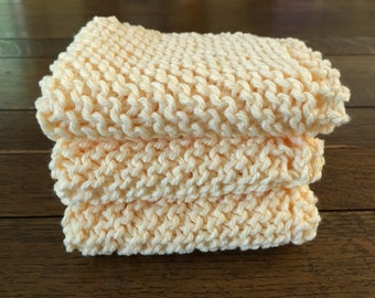 KNITTED WASH CLOTHs - 3 pk Butter Yellow - Cotton Simple