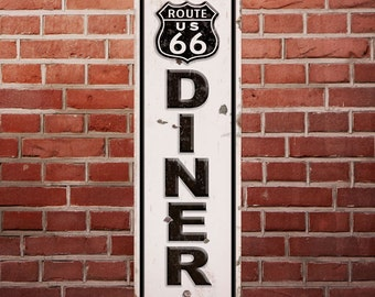 Route 66 Diner Distressed Metal Road Sign - #56813