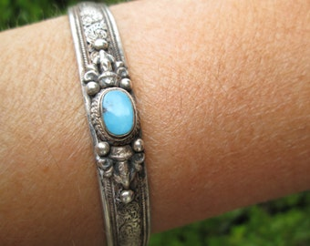 Ornate Turquoise and Sterling Cuff Bracelet