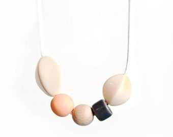 salmon and light grey handmade necklace / neutral colors / spring fashion / pastel / soft / boho /