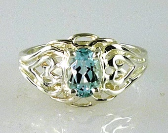 Genuine Oval Cut Solitaire Aquamarine Ring 925 SS Sterling Silver .75 Carat