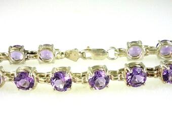 "Genuine Round Amethyst Link Bracelet, 925,  Sterling Silver 18.20 Carats 7 3/4"" in lenght"