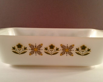 Vintage 9 x 5 Loaf Pan. Anchor Hocking Fire King Milk Glass. Meadow Green Pattern. 1970's, Retro, Mod Kitchen.