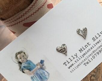 Fine Silver Lazy Heart Earrings