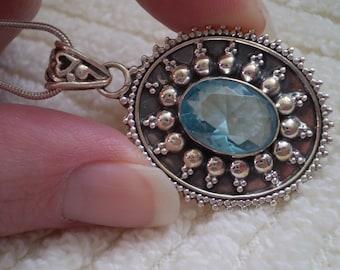 "Blue Topaz Crystal 925 Antiqued Sterling Silver 18"" Necklace"