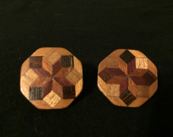 Inlaid Octagon Wood Post Earring