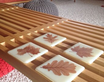 Leaves Coasters Set of 4 Maple, Oak, Sycamore