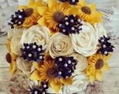 Paper wedding Flower Bouquet Origami Kusudama sunflower Rose Blossom Navy Blue Yellow Ivory french boho festival summer theme alternative