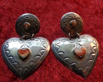 """Vintage Southwest Design Sterling Silver Heart Dangle Earrings w/Coral for Pierced Ears 2 1/8"""" Long"""