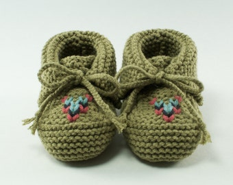 Cuffed Knit Baby Moccasin Booties + Choose your color