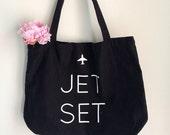 Jet Set Cotton Tote, Black and White, Screen Print, Bag, Cotton, Sale