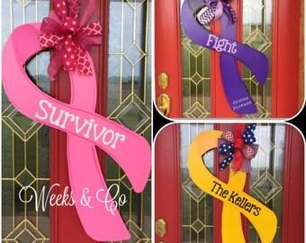 Awareness Ribbon Cancer Ribbon Support Troops Door Hanger Front Door