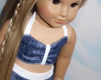 18 Inch Doll (like American Girl) Denim Print 2-Piece Skirted Swim Suit with Tie Top