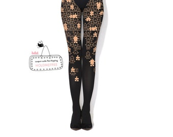 Puzzle - black hand printed tights