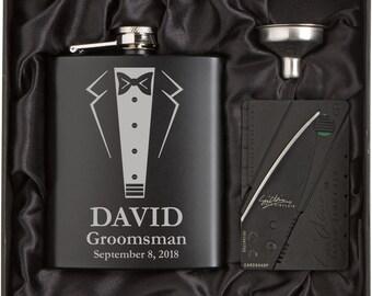 Engraved 7oz Stainless Steel Wedding Tuxedo Flask Funnel Credit Card Knife Gift Box MATTE BLACK Personalized Custom Groomsman Wedding